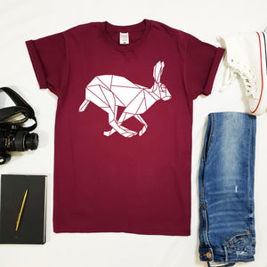 Geometric Running Hare T-Shirt - Stencilize