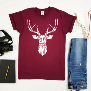 Geometric Stag Softstyle UnisexT-shirt - Stencilize