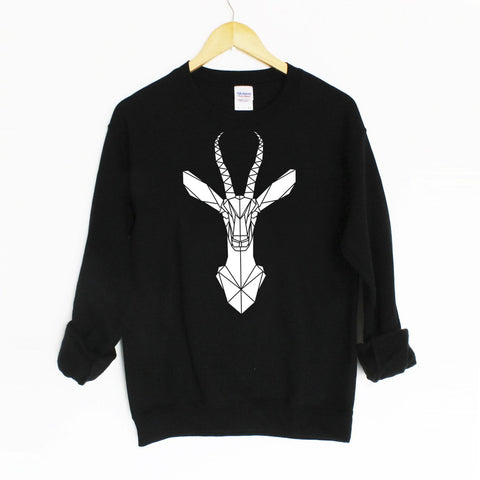 Unisex Geometric Gazelle Graphic Print Sweatshirt - Stencilize