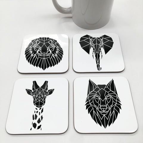 Geometric Black and White Animal Coasters - Stencilize