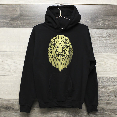 Graphic Hoodie With Lion Print, Geometric animal - Stencilize