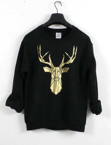 Geometric Stag head graphic sweatshirt,