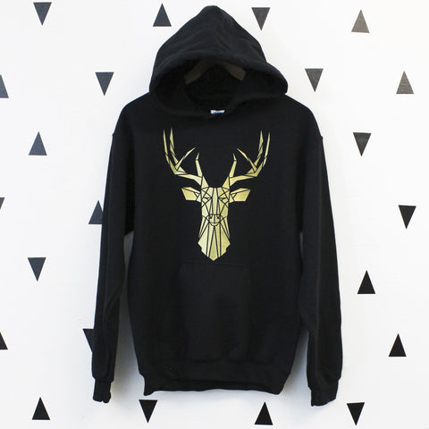 Graphic Hoodie With Stag Print, Geometric animal sweatshirt - Stencilize