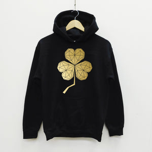Unisex Geometric Shamrock Black and Gold Hoodie - Stencilize