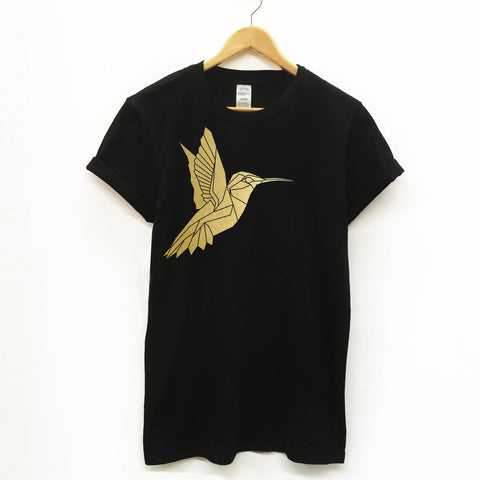 Geometric Unisex Humming bird T-shirt - Stencilize