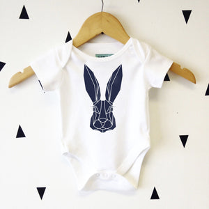 Baby Bunny Cute Geometric Baby Hare Graphic Babygrow - Stencilize