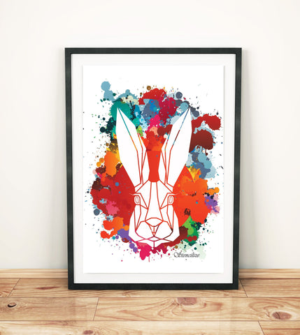 Bunny Paint Splash Art Print, Geometric Animal Design