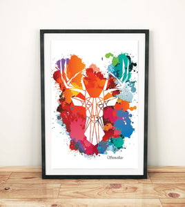 c. Stag Paint Splash Art Print, Geometric Animal Design - Stencilize