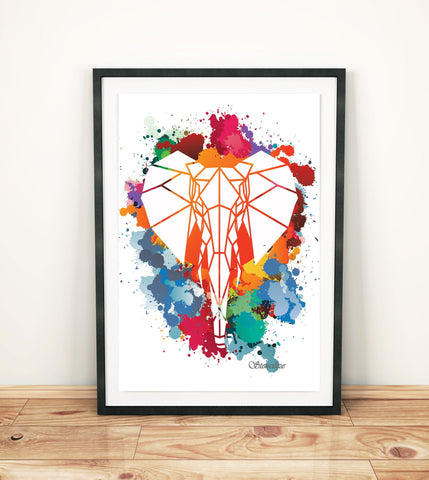 Elephant Paint Splash Art Print, Geometric Animal Design - Stencilize