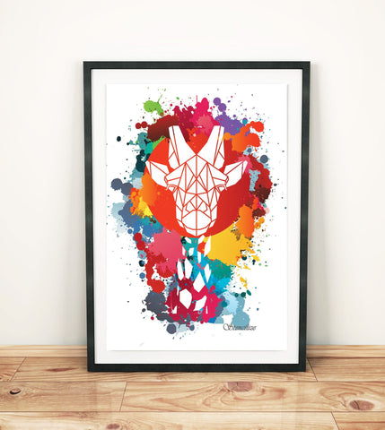 Giraffe Paint Splash Art Print, Geometric Animal Design