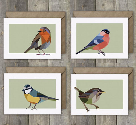 Greeting Cards Set of 4 Geometric Garden Bird - Stencilize