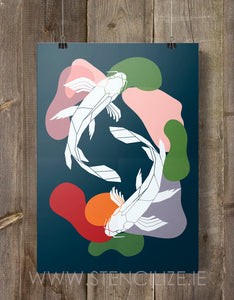 2 Koi Fish Print Geometric Illustration - Stencilize