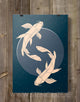 1 Koi Fish Print Geometric Illustration - Stencilize