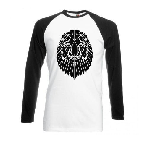 Geometric Lion, Black and White long sleeve baseball t-shirt - Stencilize