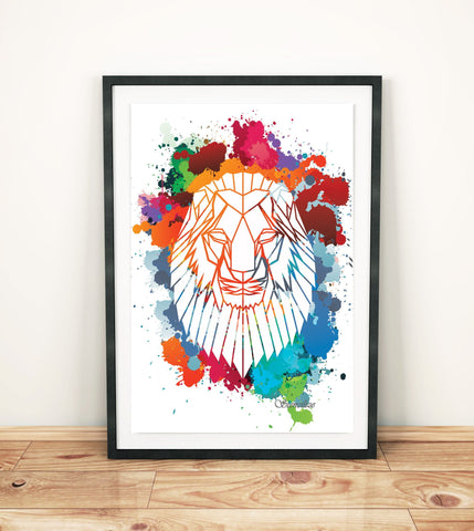 Lion Paint Splash Art Print, Geometric Animal Design