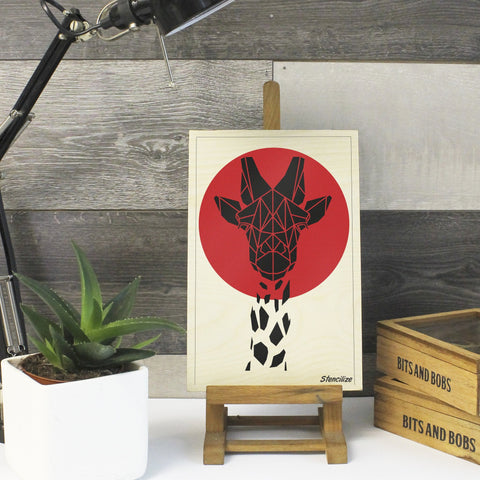 Cute Geometric Giraffe Safari Print on Plywood, Cool Animal Graphic
