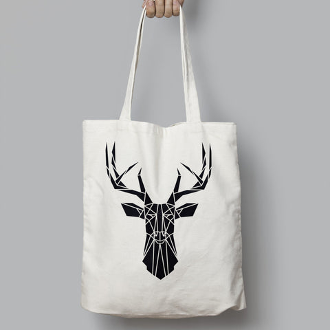 Geometric Cotton Stag Shopping Tote bag - Stencilize