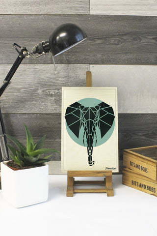 Geometric Elephant Print on Plywood, Cool Animal Graphic,  Origami inspired Animal Print