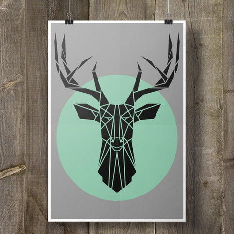 Stag Art Print Geometric Animal on Cool Grey Background