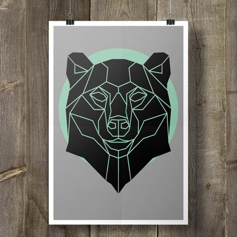 Bear Print Geometric Animal Illustration on Cool Grey Background - Stencilize