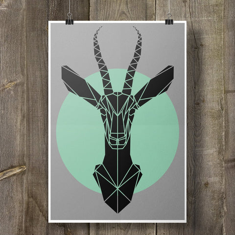Gazelle Art Print Geometric Animal on Cool Grey Background - Stencilize