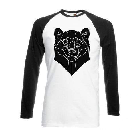 Geometric Bear, Black and White long sleeve baseball t-shirt - Stencilize