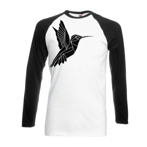 Geometric Hummingbird , Black and White long sleeve baseball t-shirt - Stencilize