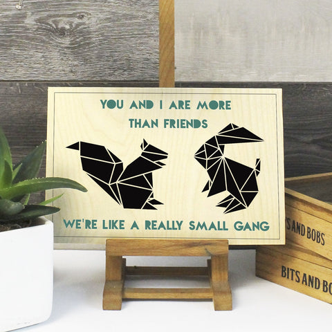 a Geometric small gang Best Friends Print on Plywood - Stencilize