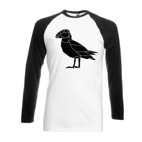 Geometric Puffin, Black and White long sleeve baseball t-shirt - Stencilize