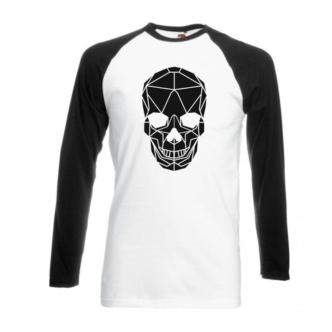Geometric Skull, Black and White long sleeve baseball t-shirt - Stencilize