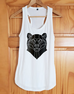 Bear Print Racer Back Tank Top - Stencilize