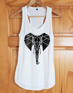 Elephant Print Racer Back Tank Top - Stencilize