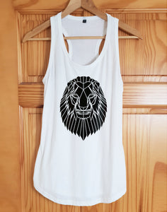 Lion Print Racer Back Tank Top - Stencilize
