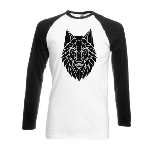 Geometric Wolf , Black and White long sleeve baseball t-shirt - Stencilize