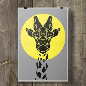 b. Cute Giraffe Print Geometric Animal on Cool Grey Background - Stencilize