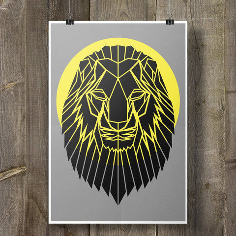 Lion Print Geometric Animal on Cool Grey Background - Stencilize