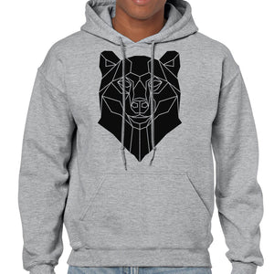 Graphic Bear Hoodie, Geometric Animal Print Sweatshirt - Stencilize