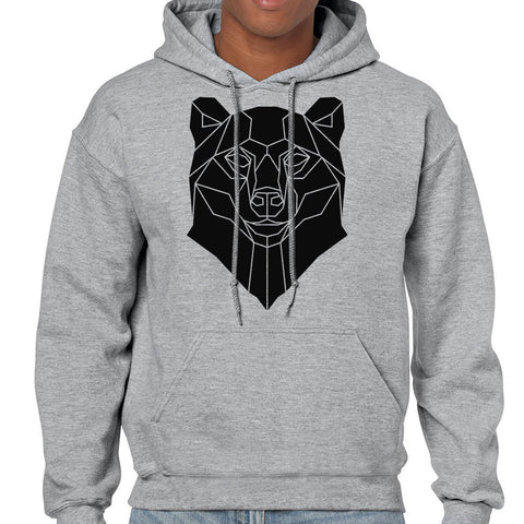 Graphic Bear Hoodie, Geometric Animal Print Sweatshirt