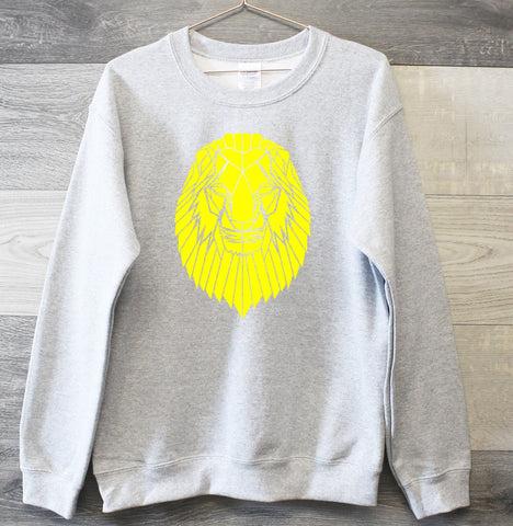 Neon Lion Print Geometric graphic sweatshirt