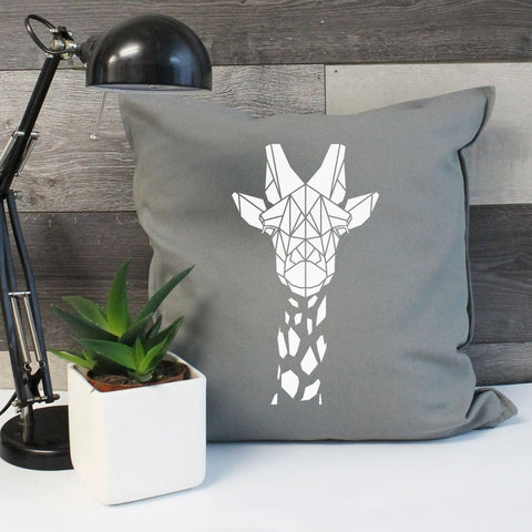 Geometric Giraffe Cotton Cushion Cover - Stencilize