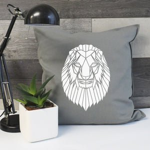 Modern Geometric Lion Cushion Cover - Stencilize
