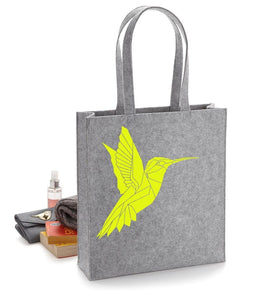 Felt Geometric Hummingbird Tote Bag - Stencilize