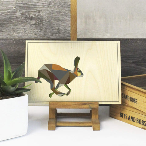 Geometric hare Print on Plywood, Cool Irish Animal Graphic, Origami inspired Animal Print - Stencilize