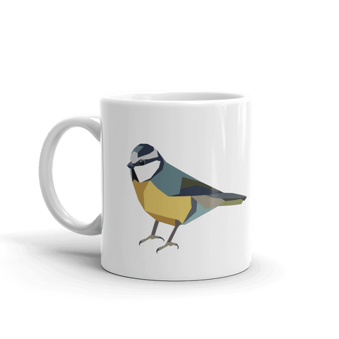 Geometric Blue Tit Mug - Stencilize