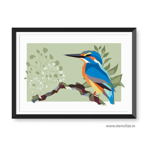 1 Kingfisher Print Geometric Bird Illustration