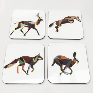 Geometric Running Animal Coasters - Stencilize