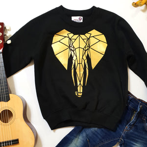 Kids Geometric Elephant Print Sweatshirt - Stencilize