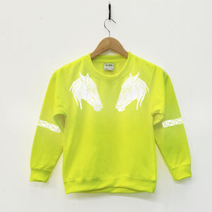 Kids Hi Viz Reflective Horse Head Sweater - Stencilize