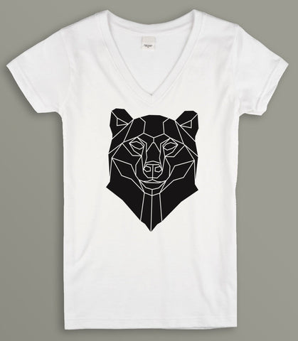 Bear Print Geometric  Ladies V-Neck T-shirt
