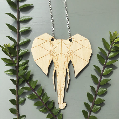 Geometric Elephant Pendant Necklace